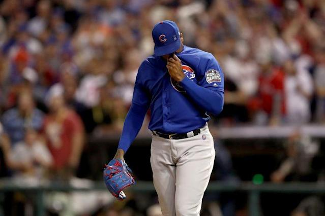 Aroldis Chapman didn't like the way he was used in the postseason. (Getty Images/Elsa)