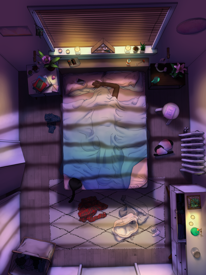 #SelfCare lets you spend time in a virtual bedroom, listening to soothing sounds, finding and manipulating items, and reading encouraging words.