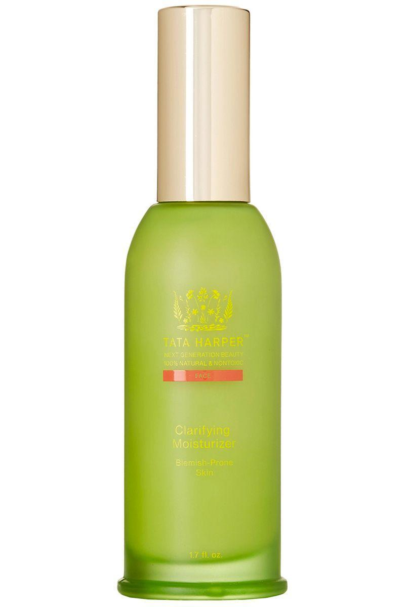 """<p>Heavy-duty acne treatments can leave skin dry, but this moisturizer replaces all of that lost hydration without leaving behind an oil-slick on your face. </p><p><strong>Tata Harper </strong>Clarifying Moisturizer, $105, nordstrom.com. </p><p><a class=""""link rapid-noclick-resp"""" href=""""https://go.redirectingat.com?id=74968X1596630&url=http%3A%2F%2Fshop.nordstrom.com%2Fs%2Ftata-harper-skincare-clarifying-moisturizer%2F4408007&sref=https%3A%2F%2Fwww.harpersbazaar.com%2Fbeauty%2Fskin-care%2Fg11653081%2Fbest-acne-products%2F"""" rel=""""nofollow noopener"""" target=""""_blank"""" data-ylk=""""slk:SHOP"""">SHOP</a><br></p>"""