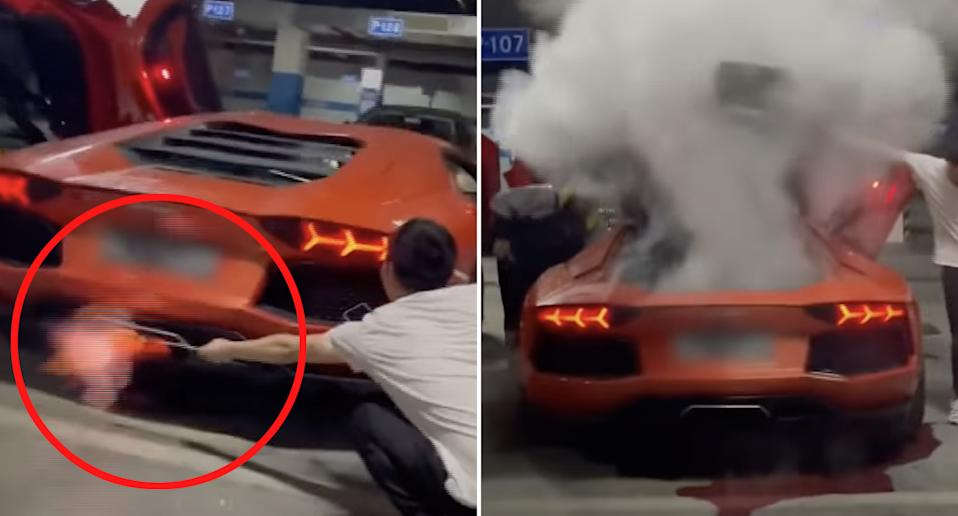 A Lamborghini Aventador engine overheats after a man tries to use its exhaust to cook a piece of meat.