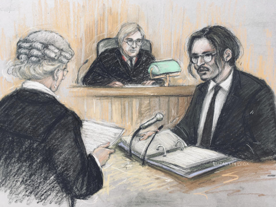 Court artist sketch by Elizabeth Cook, showing actor Johnny Depp, right, being cross-examined by Sasha Wass QC, left, before the judge, Justice Nicol, at the High Court in London, Tuesday July 7, 2020.   The libel case by Depp against a British tabloid newspaper started Tuesday over a 2018 article that branded him violent and abusive to then-wife Amber Heard. Depp strongly denies the claim. (Elizabeth Cook/PA via AP)