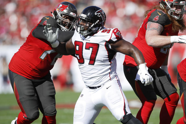 Secured the bag: Atlanta Falcons defensive tackle Grady Jarrett agreed to a four-year contract with the team on Monday. (Getty Images)