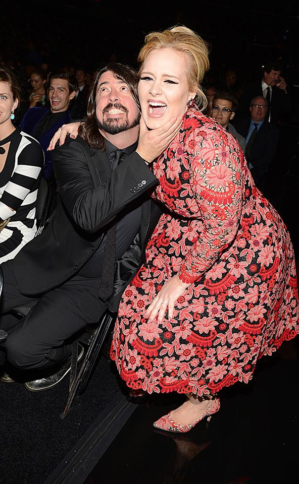 LOS ANGELES, CA - FEBRUARY 10:  Musicians Dave Grohl (L) and Adele attend the 55th Annual GRAMMY Awards at STAPLES Center on February 10, 2013 in Los Angeles, California.  (Photo by Larry Busacca/WireImage)