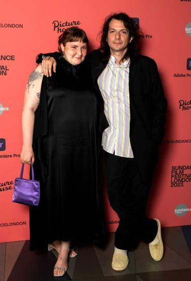 """Lena Dunham and Luis Felber attend the """"Zola"""" special screening at Picturehouse Central on August 01, 2021 in London."""