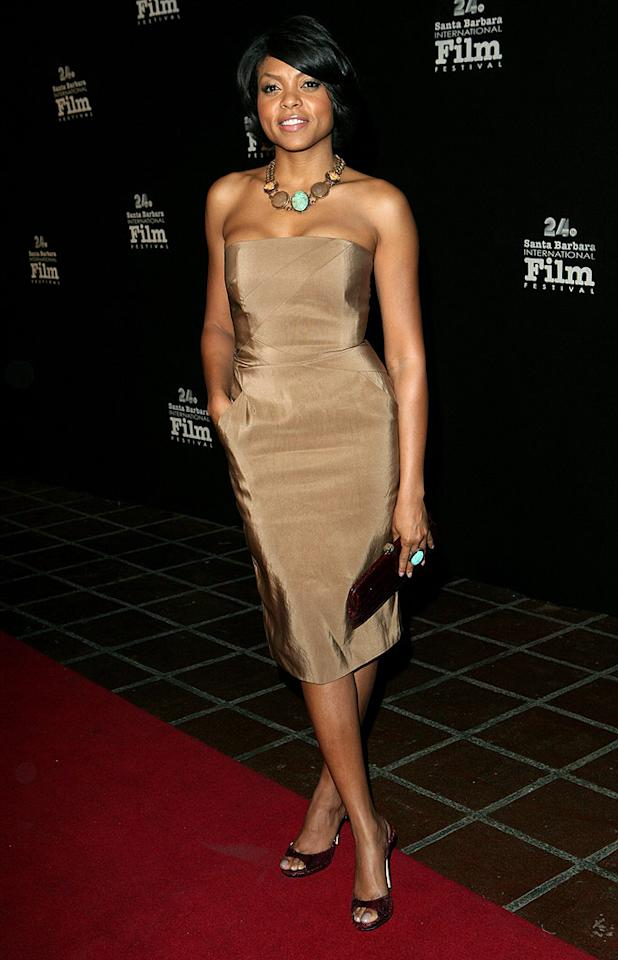 """Benjamin Button"" beauty Taraji P. Henson popped a pose in a sexy yet sophisticated strapless dress at the Santa Barbara International Film Festival. Rebecca Sapp/<a href=""http://www.wireimage.com"" target=""new"">WireImage.com</a> - January 30, 2009"
