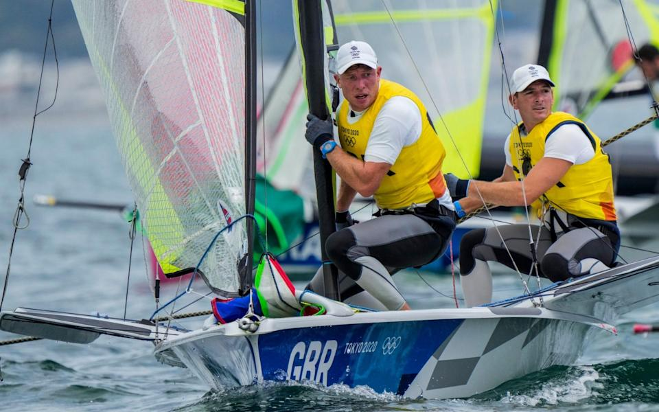 Dylan Fletcher and Stuart Bithell currently sit second in the 49er men's race - AP