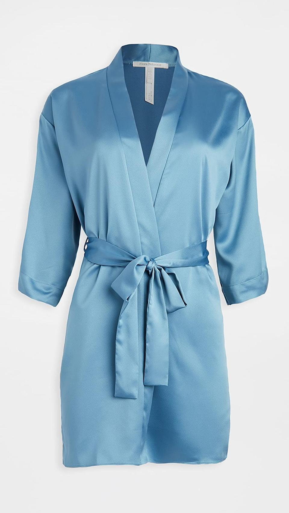 <p>Get all wrapped up in this <span>Flora Nikrooz Solid Charmeuse Wrap Robe</span> ($48).</p>