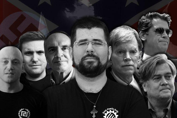 From left, Andrew Anglin, The Daily Stormer; Richard Spencer, The Alternative Right; Jared Taylor, American Renaissance; Matthew Heimbach; David Duke; Milo Yiannopoulos and Steve Bannon. (Yahoo News photo illustration; photos: AP, Facebook, Getty Images, Reuters)