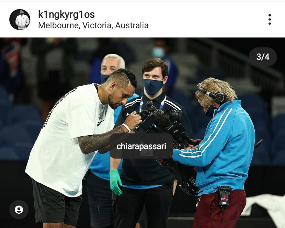 Nick Kyrgios' post about his girlfriend, pictured here on Instagram.
