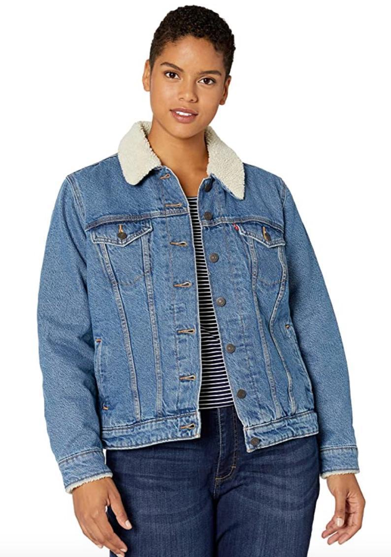 """Another staple to any cool-weather wardrobe? The sherpa-lined jean jacket, and Levi's definitely knows what it's doing when it comes to classic denim pieces like this one. $59, Amazon. <a href=""""https://www.amazon.com/Levis-Womens-Plus-Size-Trucker-Jackets/dp/B07KMJ8K6H/"""" rel=""""nofollow noopener"""" target=""""_blank"""" data-ylk=""""slk:Get it now!"""" class=""""link rapid-noclick-resp"""">Get it now!</a>"""