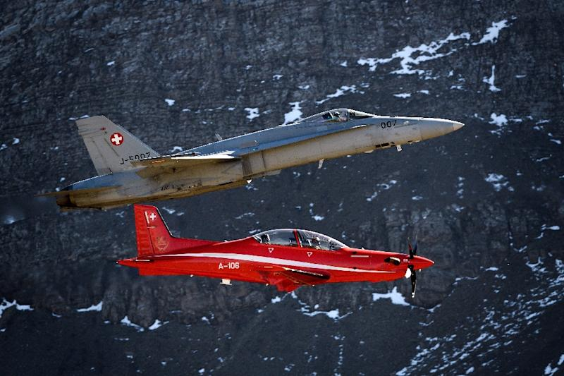 The Swiss aerospace firm Pilatus has been told to stop maintenance on its PC-21 planes, pictured, in Saudi Arabia and UAE