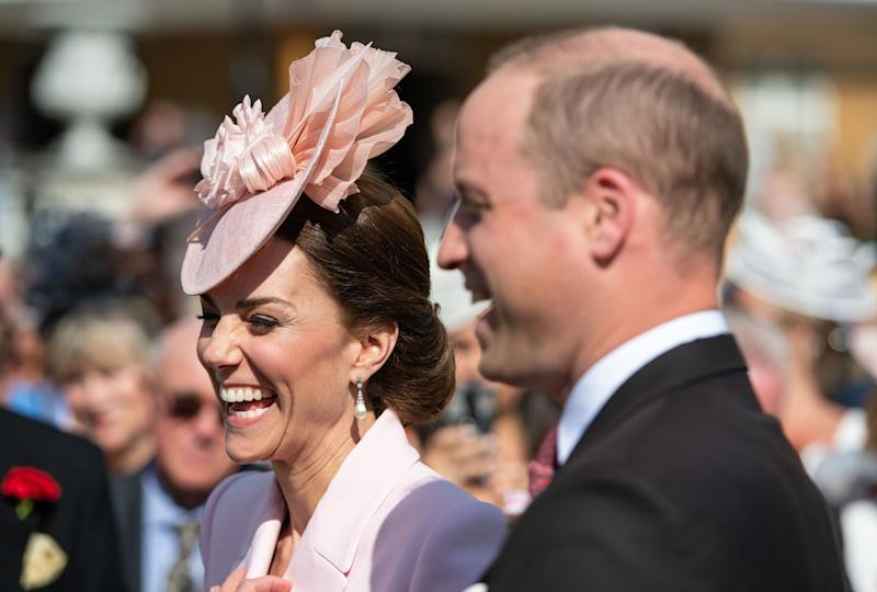 Britain's Prince William, Duke of Cambridge and Britain's Catherine, Duchess of Cambridge attend the Queen's Garden Party at Buckingham Palace in central London on May 21, 2019. (Photo by Dominic Lipinski / POOL / AFP) (Photo credit should read DOMINIC LIPINSKI/AFP/Getty Images)