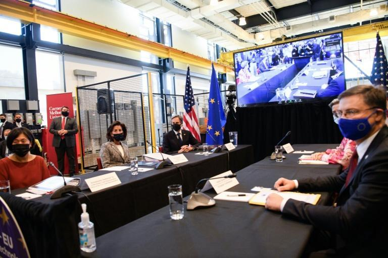 US Trade Representative Katherine Tai, left, Commerce Secretary Gina Raimondo, second from left and Secretary of State Antony Blinken, third from left, meet with European Union commissioner Valdis Dombrovskis, right, in Pittsburgh on September 29, 2021 (AFP/Nicholas Kamm)