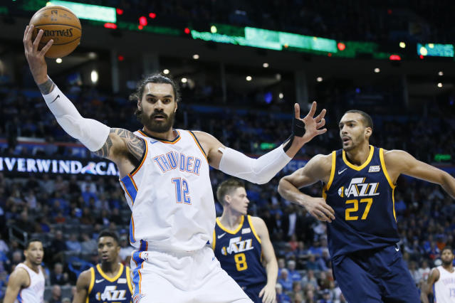 "<a class=""link rapid-noclick-resp"" href=""/nba/players/5163/"" data-ylk=""slk:Steven Adams"">Steven Adams</a> is averaging career highs in several categories, including points, rebounds and steals. (AP Photo/Sue Ogrocki)"