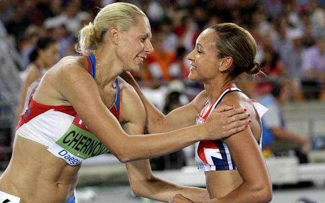 <span>Russia's Tatyana Chernova (L) is to be stripped of her Hepthathlon bronze medal from Beijing</span>
