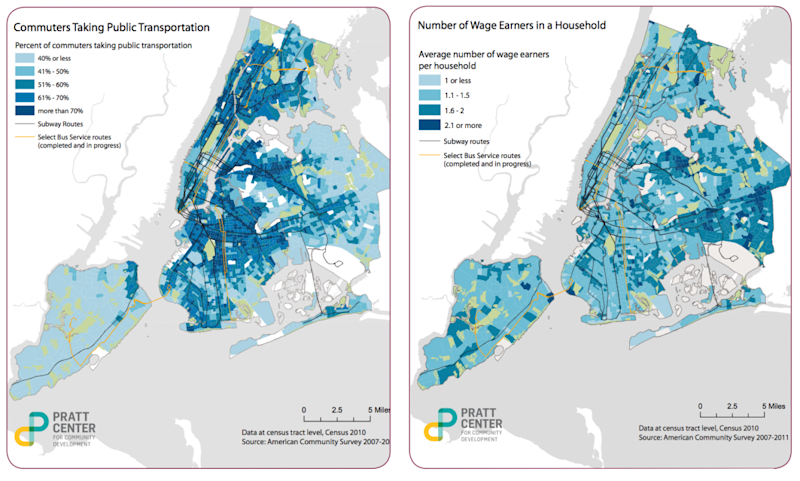 nyc commuters wage earners map