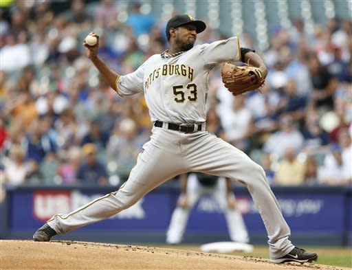 Pittsburgh Pirates starting pitcher James McDonald throws to the Milwaukee Brewers in the first inning of a baseball game, Friday, July 13, 2012, in Milwaukee. (AP Photo/Jeffrey Phelps)