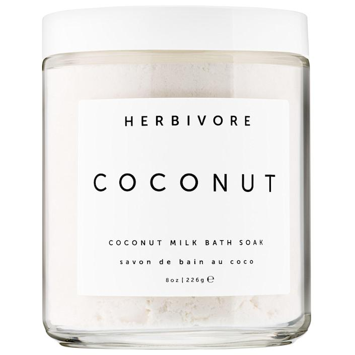 """<p><strong>Herbivore</strong></p><p>sephora.com</p><p><strong>$18.00</strong></p><p><a href=""""https://go.redirectingat.com?id=74968X1596630&url=https%3A%2F%2Fwww.sephora.com%2Fproduct%2Fcoconut-milk-bath-soak-P431840&sref=https%3A%2F%2Fwww.prevention.com%2Flife%2Fg35227742%2Fgalentines-day-gifts%2F"""" rel=""""nofollow noopener"""" target=""""_blank"""" data-ylk=""""slk:Shop Now"""" class=""""link rapid-noclick-resp"""">Shop Now</a></p><p>This coconut-vanilla bath soak will make her at-home spa moments even more luxurious. The <strong>creamy bath soak is filled with soothing coconut milk powder and hydrating coconut pulp,</strong> and the natural coconut scent will instantly transport her to a tropical island.</p>"""
