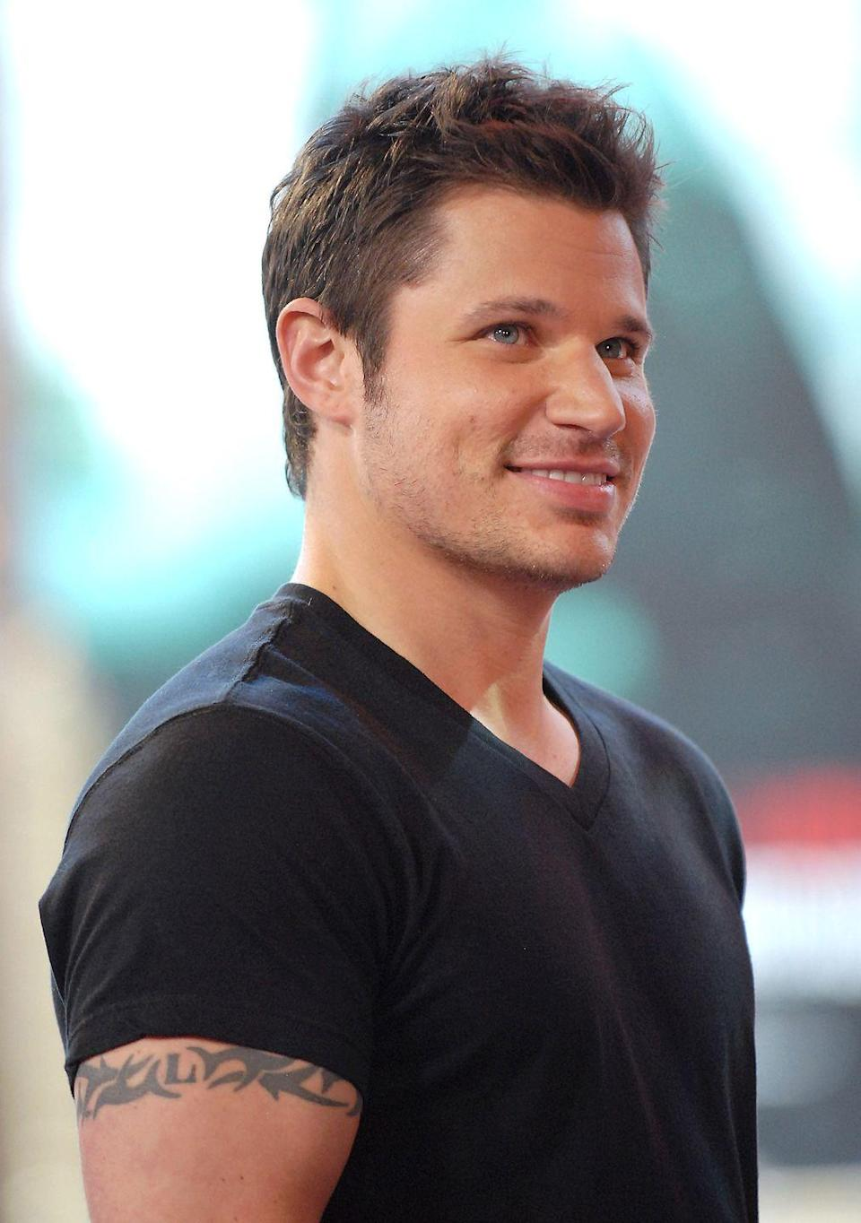"""<p>Nick Lachey (a.k.a. the lead singer of 98 Degrees) road the band's success in the late '90s all the way to the tattoo chair. The musician's upper right arm used to be blessed with a sun that said 98° in the middle, and it was a sad day for fans everywhere when <a href=""""https://www.eonline.com/news/872771/nick-lachey-pokes-fun-at-his-98-degrees-days-with-an-epic-blast-from-the-past"""" rel=""""nofollow noopener"""" target=""""_blank"""" data-ylk=""""slk:Nick got the sun filled in"""" class=""""link rapid-noclick-resp"""">Nick got the sun filled in</a>, covering up the band's name. To be fair though, for a while there, it did seem like the Boy Band era was going to last forever.</p>"""