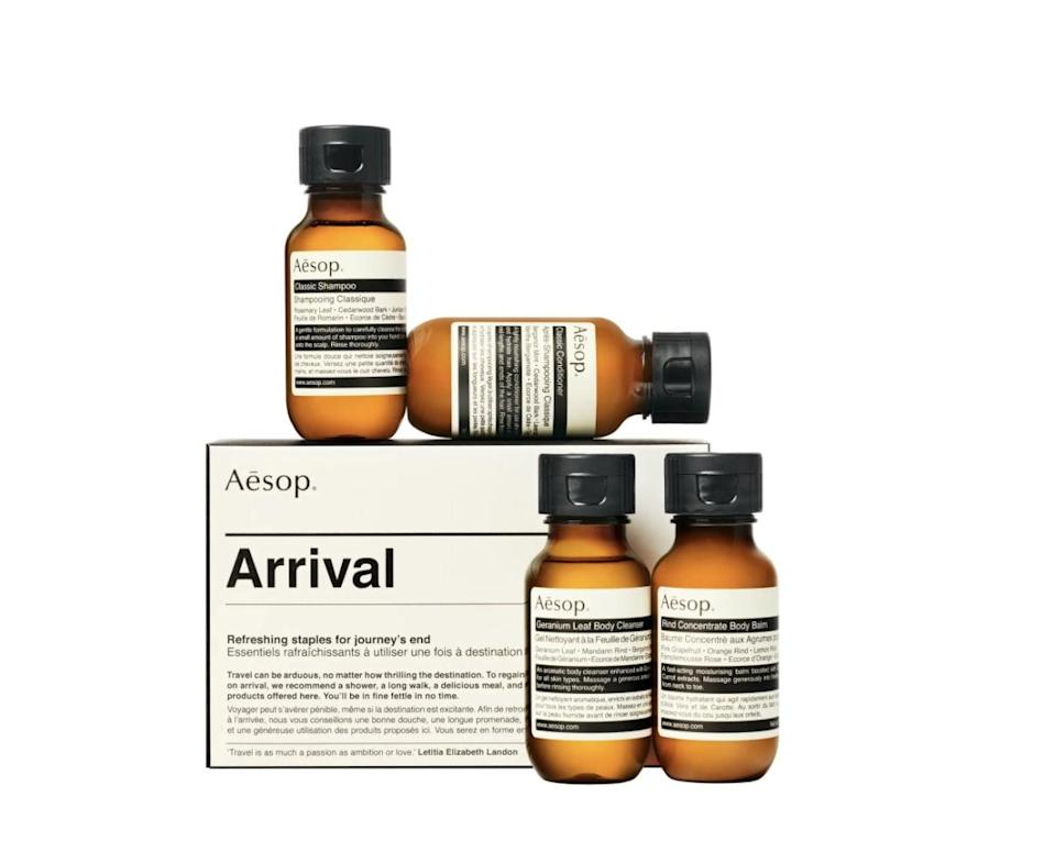 <p>They'll be able to travel with their favorite products on hand with this <span>Aesop Arrival Travel Kit</span> ($35).</p>