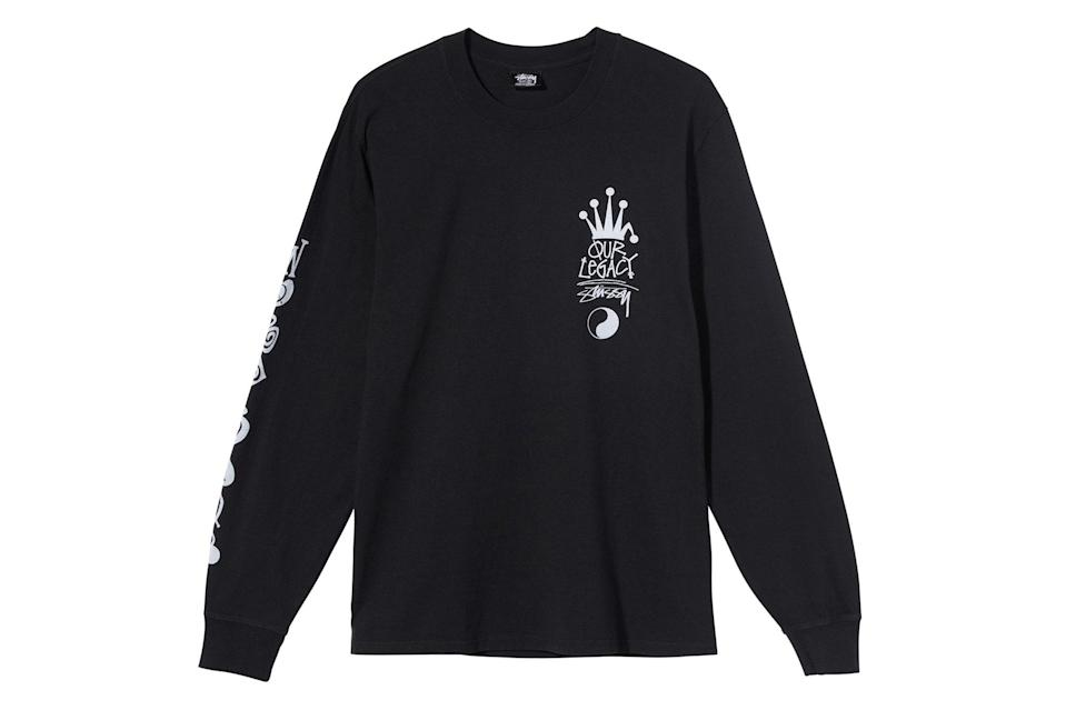 "$55, Stüssy. <a href=""https://www.stussy.com/collections/new-arrivals/products/ol-crown-ls-tee?variant=32954031505504"" rel=""nofollow noopener"" target=""_blank"" data-ylk=""slk:Get it now!"" class=""link rapid-noclick-resp"">Get it now!</a>"
