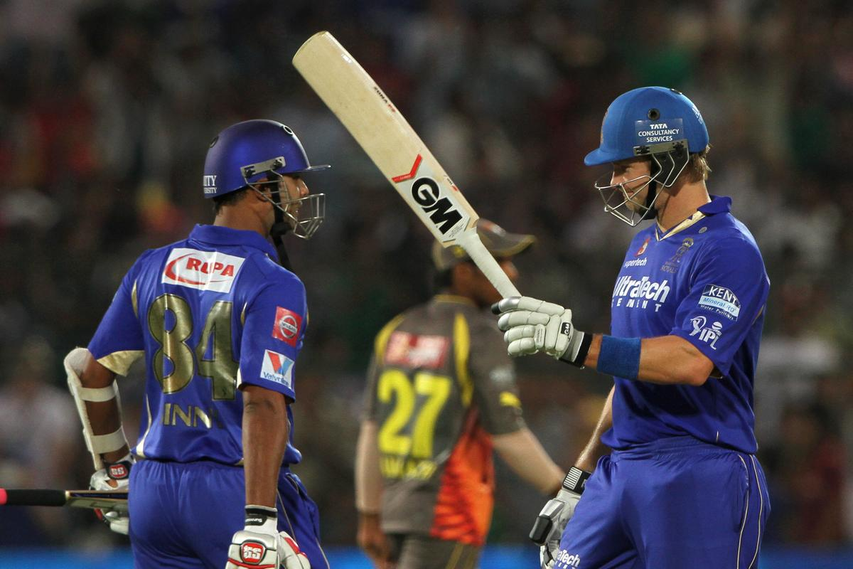 Rajasthan Royals player Shane Watson celebrates after scoring a half century during match 36 of the Pepsi Indian Premier League ( IPL) 2013  between The Rajasthan Royals and the Sunrisers Hyderabad  held at the Sawai Mansingh Stadium in Jaipur on the 27th April 2013. (BCCI)