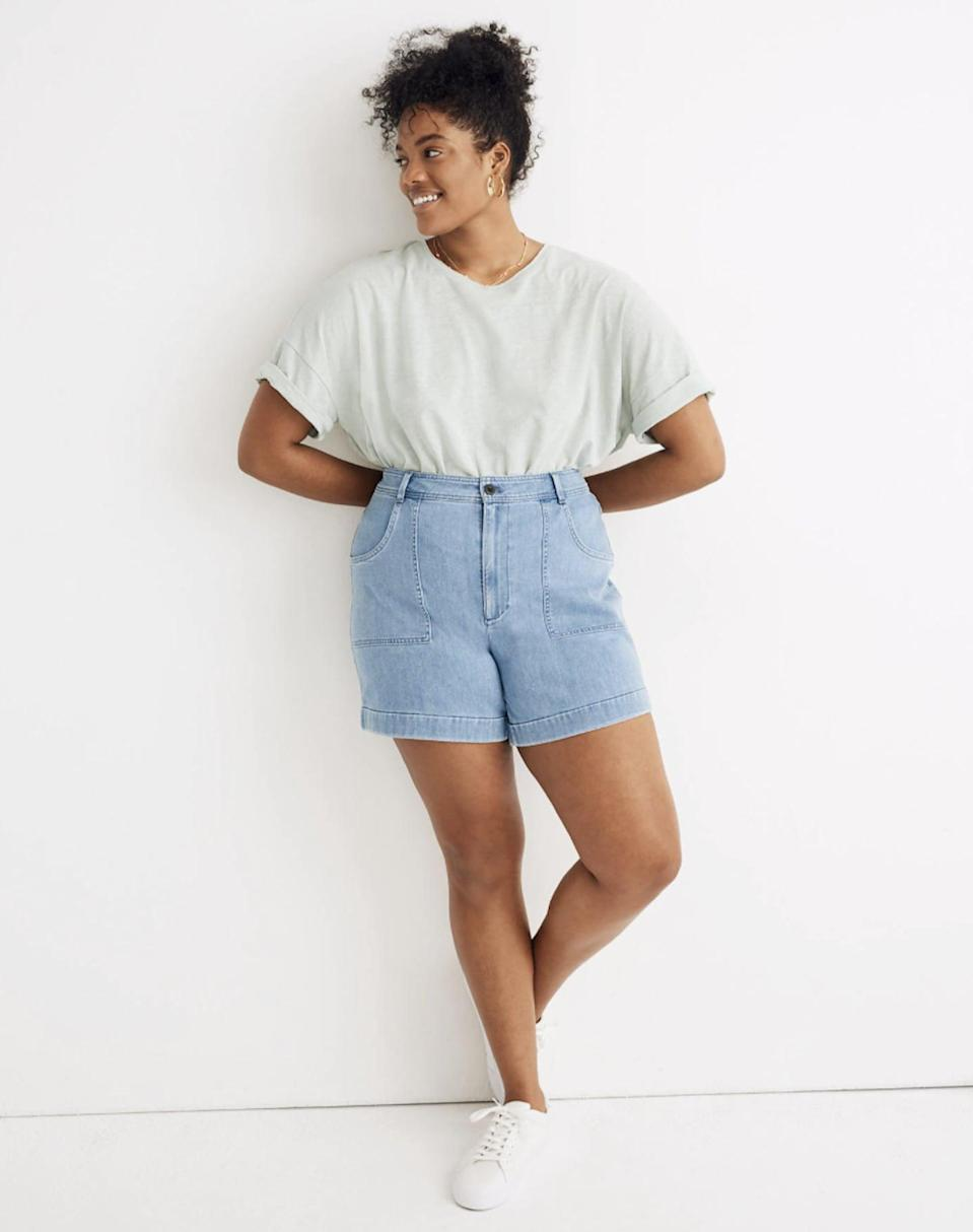 """<p>We adore the style of these <a href=""""https://www.popsugar.com/buy/Madewell-High-Rise-Cuffed-Denim-Shorts-584545?p_name=Madewell%20High-Rise%20Cuffed%20Denim%20Shorts&retailer=madewell.com&pid=584545&price=75&evar1=fab%3Aus&evar9=44757777&evar98=https%3A%2F%2Fwww.popsugar.com%2Ffashion%2Fphoto-gallery%2F44757777%2Fimage%2F47572020%2FMadewell-High-Rise-Cuffed-Denim-Shorts&list1=shopping%2Cdenim%2Cshorts%2Cspring%2Csummer%2Cdenim%20shorts%2Cspring%20fashion%2Csummer%20fashion&prop13=api&pdata=1"""" class=""""link rapid-noclick-resp"""" rel=""""nofollow noopener"""" target=""""_blank"""" data-ylk=""""slk:Madewell High-Rise Cuffed Denim Shorts"""">Madewell High-Rise Cuffed Denim Shorts</a> ($75).</p>"""