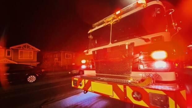 A fire at a home on Vancouver Island early Thursday left one young woman dead and four others hurt, according to RCMP. (Gian-Paolo Mendoza/CBC - image credit)