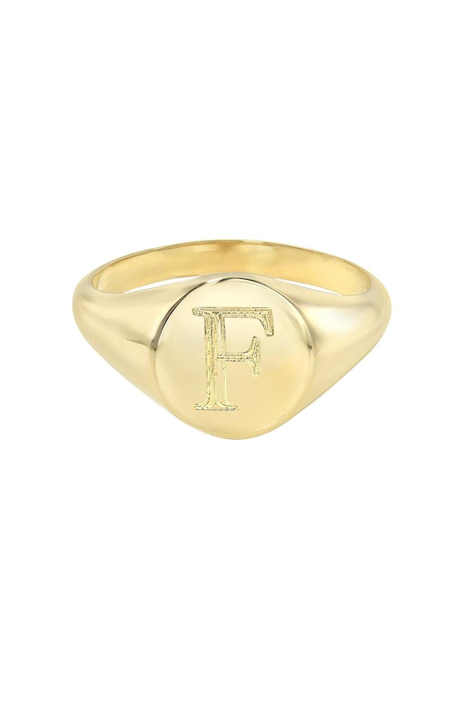 <p>Give this <span>Zoe Lev Small Signet Ring</span> ($70) to your friend who loves stacking rings.</p>