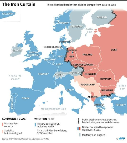 Map of Europe showing the Iron Curtain and Cold War political and military pacts across Europe