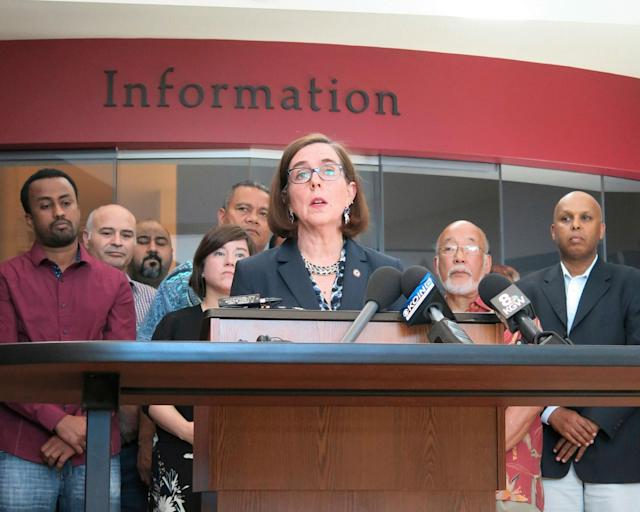 <p>Oregon Gov. Kate Brown speaks at a news conference after a man fatally stabbed two men Friday on a light-rail train when they tried to stop him from yelling anti-Muslim slurs at two young women, one of whom was wearing a hijab in Portland, Ore., Saturday, May 27, 2017. (AP Photo/Gillian Flaccus) </p>
