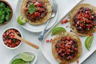 "<p>Making your own tostadas is easy. Use store-bought corn tortillas, brush them with olive oil and bake to crunchy perfection! Here we topped the tostada with refried beans and fresh pico de gallo for an easy 3-ingredient meal. <a href=""https://www.eatingwell.com/recipe/7894375/3-ingredient-refried-bean-and-pico-de-gallo-tostada/"" rel=""nofollow noopener"" target=""_blank"" data-ylk=""slk:View recipe"" class=""link rapid-noclick-resp""> View recipe </a></p>"