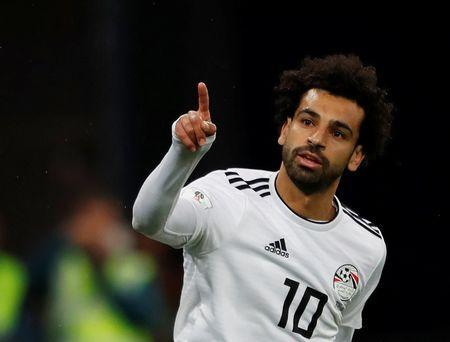 FILE PHOTO: Soccer Football - World Cup - Group A - Russia vs Egypt - Saint Petersburg Stadium, Saint Petersburg, Russia - June 19, 2018 Egypt's Mohamed Salah celebrates scoring their first goal REUTERS/Lee Smith
