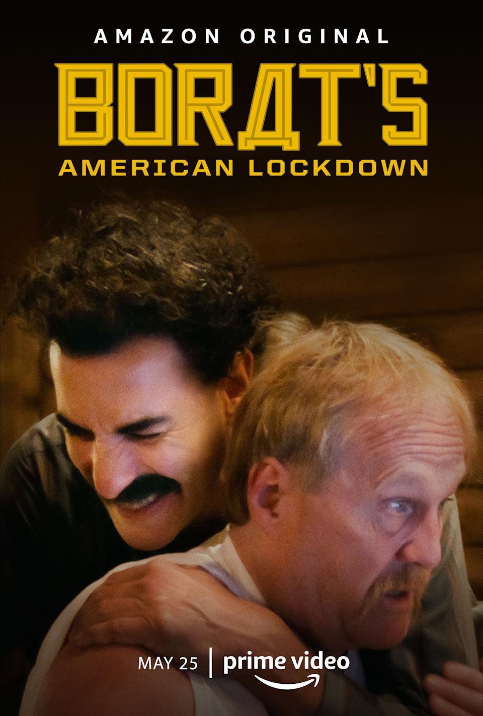Borat's American Lockdown - See the 40 minute reality show of Borat Sagdiyev (Sacha Baron Cohen) as he spends five days at the peak of the Covid-19 pandemic with two conspiracy theorists. (Amazon)