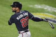 FILE - Atlanta Braves' Nick Markakis watches his double during the second inning of the team's baseball game against the Baltimore Orioles, in Baltimore, in this Tuesday, Sept. 15, 2020, file photo. Markakis has retired after a 15-year career spent with the Atlanta Braves and Baltimore Orioles. The 37-year-old Markakis, who was a free agent, told The Athletic in a story published Friday, March 12, 2021, that he was done playing after accumulating 2,388 hits, earning his lone All-Star bid in 2018 and coming within one win of reaching the World Series in his final season. (AP Photo/Terrance Williams, File)