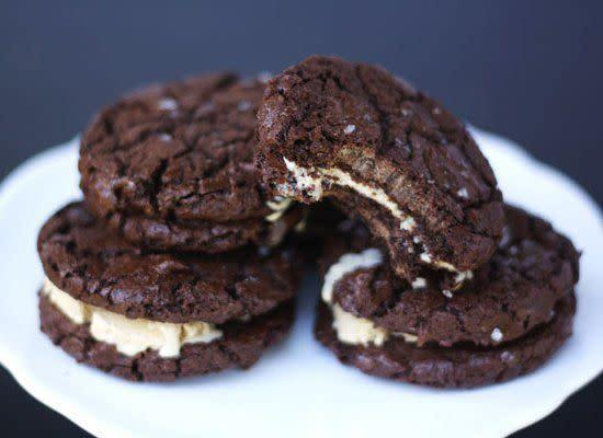 """This recipe is a gourmet take on the typical ice cream sandwich. It calls for salted caramel ice cream and sea salt cookies. <strong>Get the <a href=""""http://foodpluswords.com/2011/05/ice-cream-sandwiches/"""" rel=""""nofollow noopener"""" target=""""_blank"""" data-ylk=""""slk:Chocolate Sea Salt Cookie & Salted Caramel Ice Cream Sandwiches"""" class=""""link rapid-noclick-resp"""">Chocolate Sea Salt Cookie & Salted Caramel Ice Cream Sandwiches</a> recipe by Food Plus Words</strong>"""