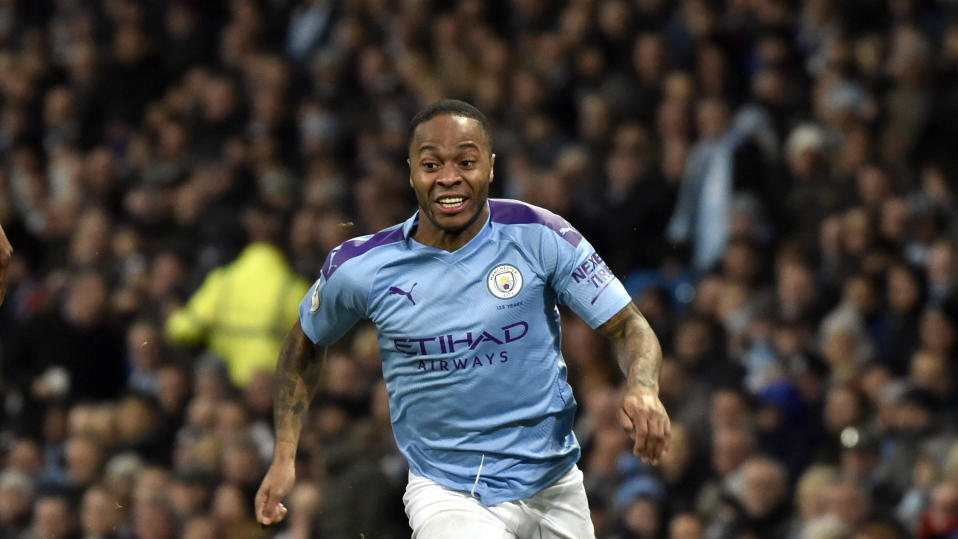 Manchester City's Raheem Sterling runs for the ball during the English Premier League soccer match between Manchester City and Manchester United at Etihad stadium in Manchester, England, Saturday, Dec. 7, 2019. (AP Photo/Rui Vieira)