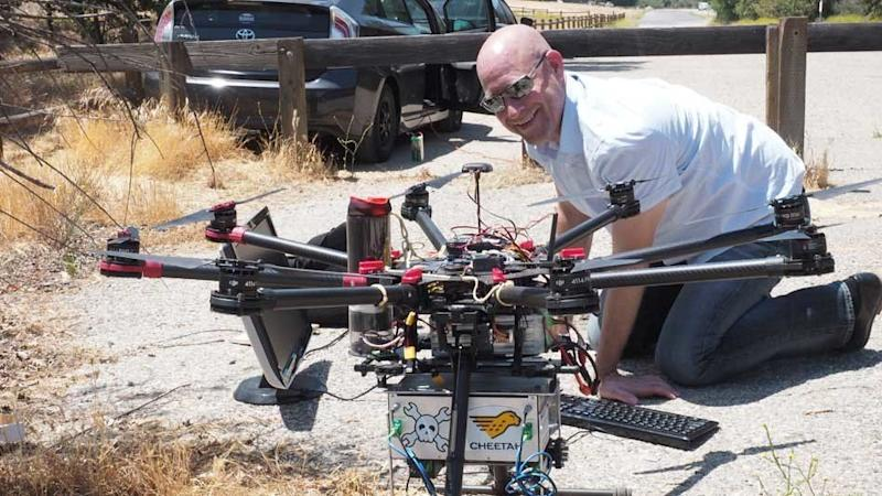 Joseph Demers of Bakman Technologies with a drone-mounted spectrometer he's developing. The government shutdown has disrupted his research.