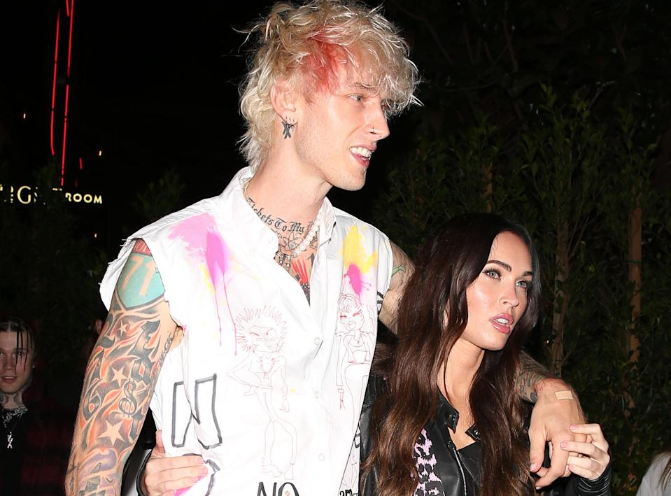 Machine Gun Kelly says falling in love with Megan Fox changed his life. Here they are in Sept. 2020.