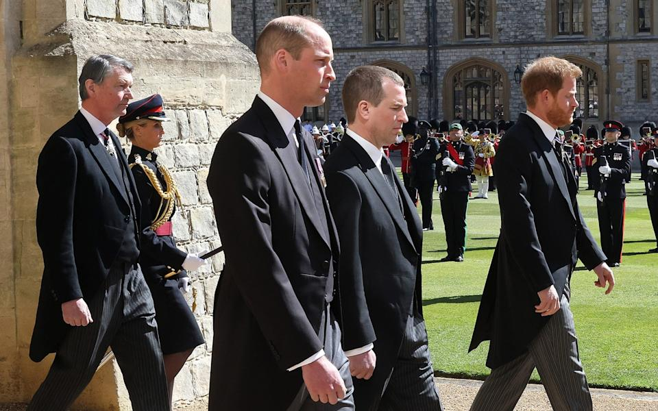 Vice-Admiral Sir Timothy Laurence, Prince William, Duke of Cambridge, Peter Phillips, Prince Harry, Duke of Sussex follow Prince Philip, Duke of Edinburgh's coffin during the Ceremonial Procession during the funeral of Prince Philip - Chris Jackson/Getty