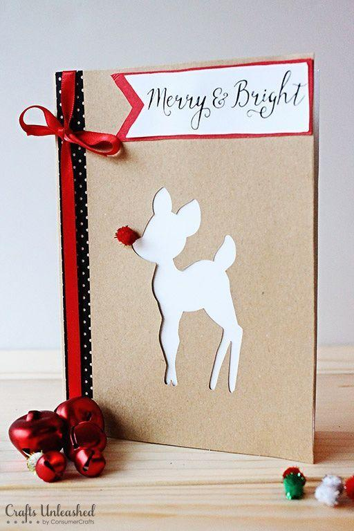 """<p>This reindeer silhouette is so darling, you may find yourself wanting to display this card in your own home.</p><p><strong>Get the tutorial at <a href=""""http://blog.consumercrafts.com/seasonal/winter/merry-diy-christmas-cards/"""" rel=""""nofollow noopener"""" target=""""_blank"""" data-ylk=""""slk:Crafts Unleashed"""" class=""""link rapid-noclick-resp"""">Crafts Unleashed</a>.</strong></p><p><a class=""""link rapid-noclick-resp"""" href=""""https://www.amazon.com/Solid-Color-Satin-Ribbon-25yds/dp/B01CGXLNU4/?tag=syn-yahoo-20&ascsubtag=%5Bartid%7C10050.g.3872%5Bsrc%7Cyahoo-us"""" rel=""""nofollow noopener"""" target=""""_blank"""" data-ylk=""""slk:SHOP RED RIBBON"""">SHOP RED RIBBON</a></p>"""
