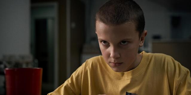 """<p>The British actress shaved it all for her big break as Eleven in the Netflix series <em>Stranger Things</em>. In a <a href=""""https://twitter.com/milliebbrown/status/767428947655155712"""" rel=""""nofollow noopener"""" target=""""_blank"""" data-ylk=""""slk:video posted on Twitter"""" class=""""link rapid-noclick-resp"""">video posted on Twitter</a>, she showed fans the original transformation. (Photo: Netflix) </p>"""