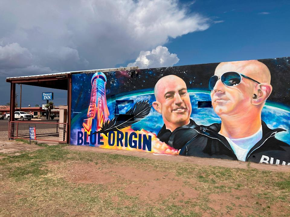 The side of a building in Van Horn, Texas, is adorned with a mural of Blue Origin founder Jeff Bezos (Sean Murphy/AP)) (AP)