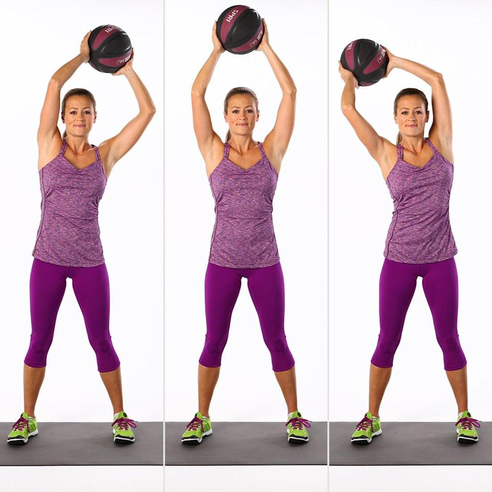 <p>As you stabilize your core while circling the medicine ball above your head, your abs will feel the burn. Your arms will feel it, too!</p> <ul> <li>Stand with your feet hip-width apart with a slight bend in your knees. Keeping your spine neutral, lift a five- to eight-pound medicine ball overhead. </li> <li>Begin to circle the ball to the left, in the largest circles you can make, while maintaining a still and stable torso.</li> <li>Reverse directions, and do the same number of reps on each side.</li> </ul>