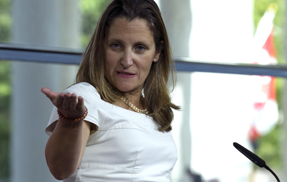 Canada's Foreign Affairs Minister Chrystia Freeland speaks during a news conference at the Canadian Embassy after talks at the Office of the United States Trade Representative, in Washington, Friday, Aug. 31, 2018. (AP Photo/Jose Luis Magana)