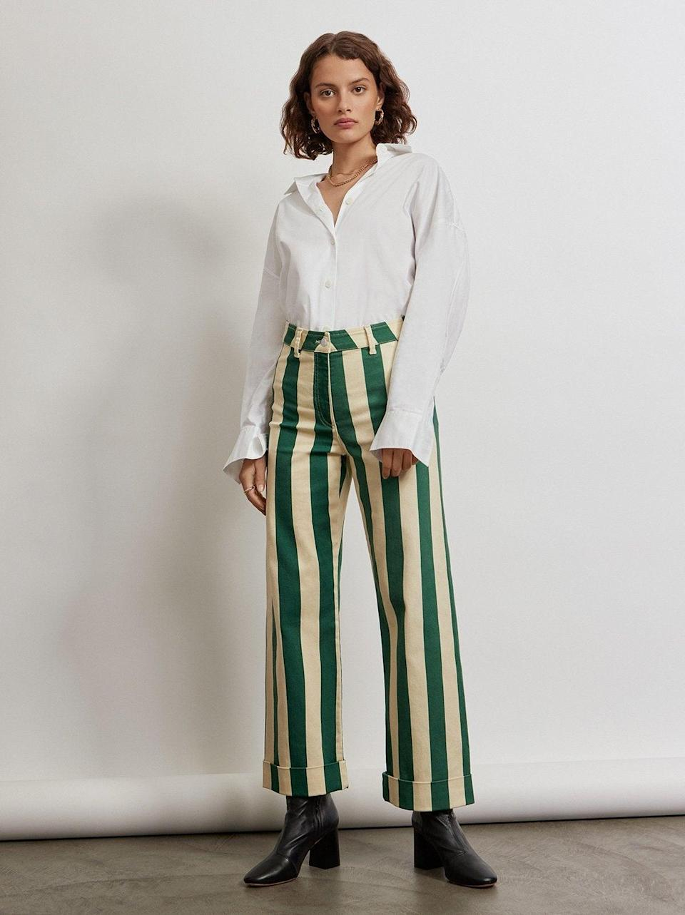 """<br><br><strong>Kitri x Jessie Bush</strong> Joey Green Striped Trousers, $, available at <a href=""""https://kitristudio.com/products/joey-green-striped-trousers?variant=39520004636723"""" rel=""""nofollow noopener"""" target=""""_blank"""" data-ylk=""""slk:Kitri"""" class=""""link rapid-noclick-resp"""">Kitri</a>"""