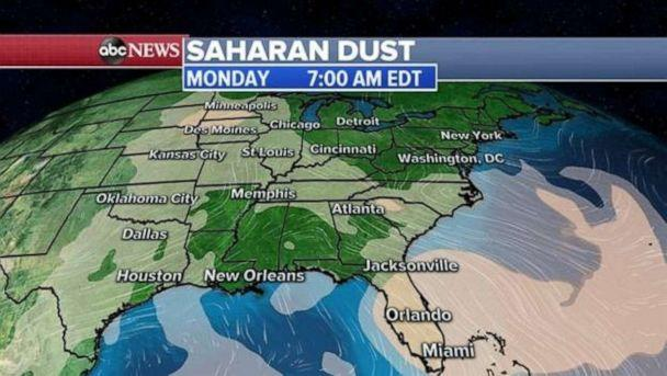 PHOTO: Air quality is improving in much of the U.S. as the Saharan dust settles and blows north and east out of the country. (ABC News)