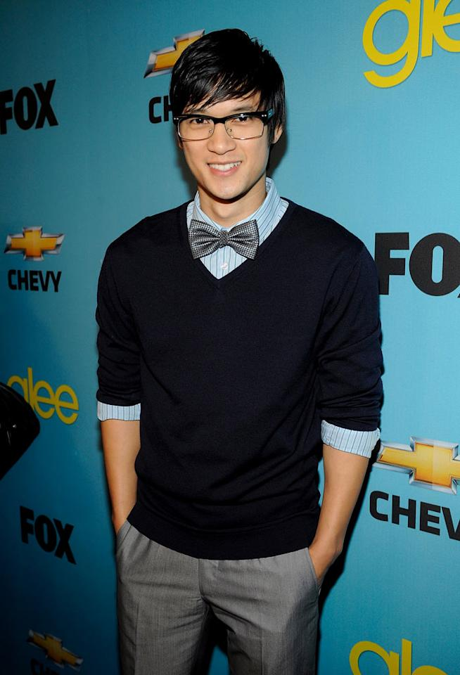 """<a href=""""/harry-shum/contributor/1156214"""">Harry Shum Jr.</a> (""""Mike Chang"""") arrives at Fox's <a href=""""/glee/show/44113"""">""""Glee""""</a> Spring Premiere Soiree at Chateau Marmont on April 12, 2010 in Los Angeles, California."""