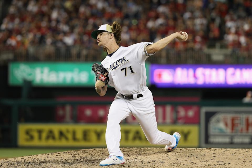 Josh Hader allowed a three-run home run Tuesday night in the MLB All-Star Game. (Getty Images)
