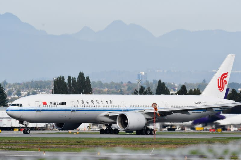 An Air China flight bound for Shenzhen, believed to be carrying Huawei CFO Meng Wanzhou, takes off from Vancouver International Aiport in Richmond